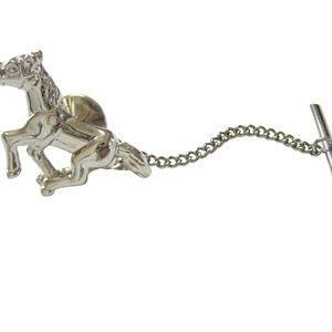 Silver Toned Shiny Horse Tie Tack